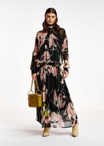 Essentiel Antwerp Black and Floral Print Voluminous Maxi Dress