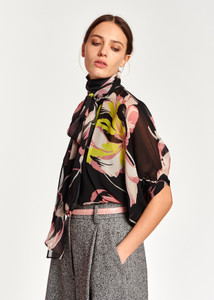 Essentiel Antwerp Black and Floral Oversize Top