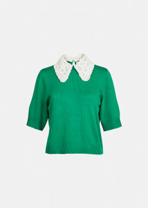 Essentiel Antwerp Green Knit Top with Embellished White Collar
