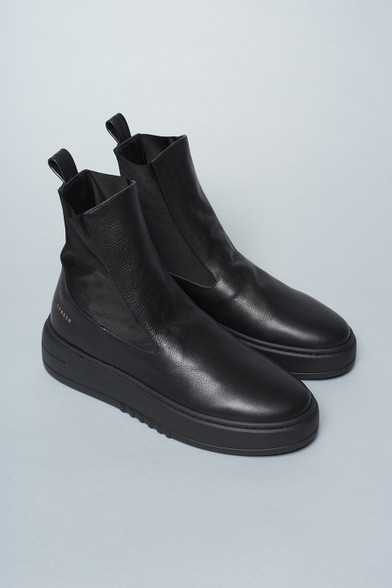 Black leather sneaker boots