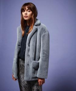 Hartford Blue Grey Fake Fur Jacket