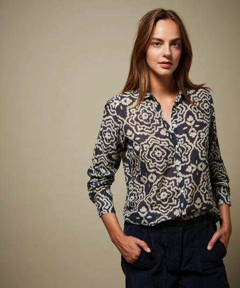Hartford Cotton and Silk Floral Navy Shirt