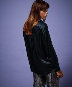 Hartford Navy Satin Silk Shirt