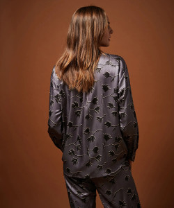 Hartford Lilac Leaves Print Shirt