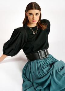 Wide Black Leather Belt