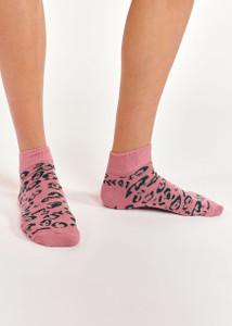 Essentiel Antwerp Pink Leopard Ankle Socks