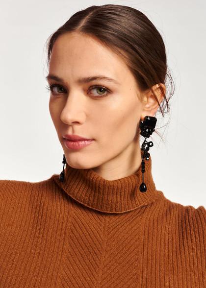 Essentiel Antwerp Long Black Rhinestone Earrings