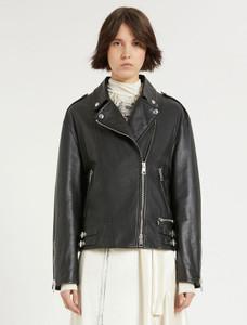 Sportmax Black Leather Biker Jacket