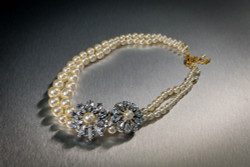 Pat Whyte Pearls with Crystal Flowers