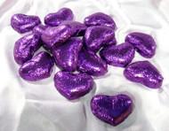Purple Milk Chocolate Hearts - per pound