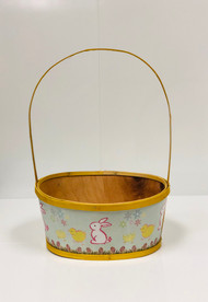 Large Painted Wood Empty Easter Basket (Yellow)