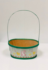 Large Painted Wood Empty Easter Basket (Green)