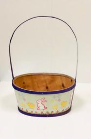 Large Painted Wood Empty Easter Basket (Purple)
