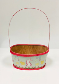 Large Painted Wood Empty Easter Basket (Pink)