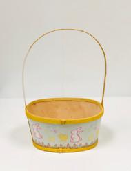 Medium Painted Wood Empty Easter Basket (Yellow)