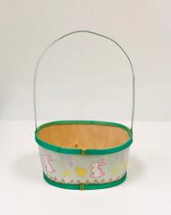 Medium Painted Wood Empty Easter Basket (Green)
