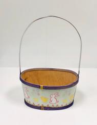 Medium Painted Wood Empty Easter Basket (Purple)