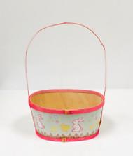 Medium Painted Wood Empty Easter Basket (Pink)