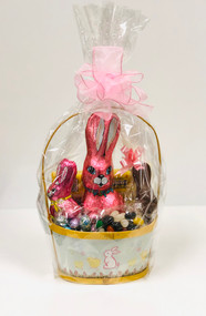 Small Painted Wood Easter Basket (Yellow)