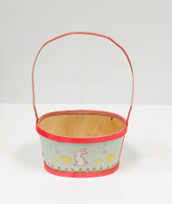 Small Painted Wood Empty Easter Basket (Pink)
