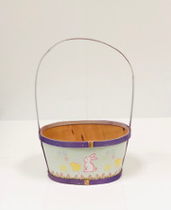 Small Painted Wood Empty Easter Basket (Purple)