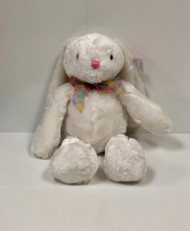 Stuffed White Bunny with Multi-Colored Bow
