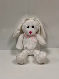 Stuffed White Bunny with Pink Bow