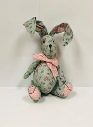Stuffed Flowered Fabric Bunny (Green)