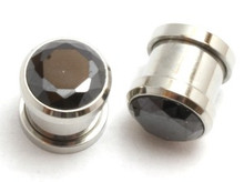 PAIR BLACK Gem Screw plugs steel tunnel 0g CHOOSE GAUGE