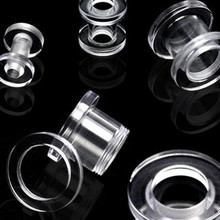 6g Clear Screw PLUGS ear gauges stretching tunnels -PAIR