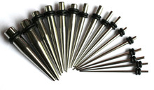 18 Pc Steel Tapers EAR STRETCHING KIT plugs Set 00g-14g