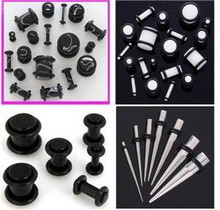 Black White PLUGS Steel TAPERS 0G-14G gauge ear stretching -32pc kit