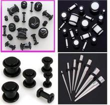 Black White PLUGS Steel TAPERS 0G-14G gauge ear stretching -32pc kit