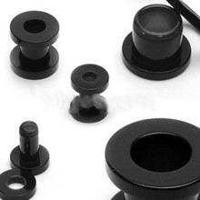 PAIR 2g 2 gauge BLACK SCREW plug 8mm ear stretch tunnel