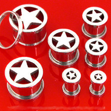 00g 00 Gauge STEEL STAR SCREW ON PLUGS tunnel ear flesh