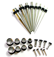 1 STEEL EAR STRETCH KIT Tapers +PLUGS 0g-14g tunnels -24pc set **BEST VALUE**