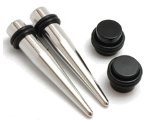 6g PAIR Steel Tapers AND Plugs Ear Stretch Kit expander