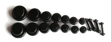 18 pc BLACK PLUGS 00g 0g 2g 4g 6g 8g 10g 12g 14g ear