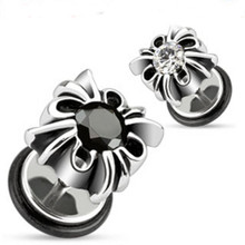 Pair of Fake Cheater Plugs for Ears Steel Gothic Black or Clear Gem 0g Look Gauges