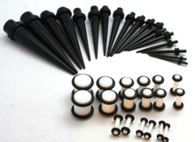 1 36pc Black Tapers White Plugs Gauges Ear Stretching Kit 00G-14G gauges