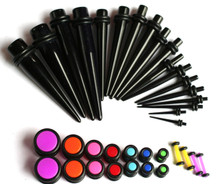 1 36pc Black Tapers Neon Plugs Gauges Ear Stretching Kit 00G-14G gauges