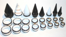 1 set 24 Pc EAR STRETCHING KIT 00g 7/16 1/2 9/16 5/8 3/4 7/8 1 inch Black White Clear Tapers Steel Tunnels