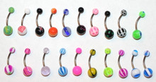 20pc 14g gauge 3/8 16mm Belly Rings Navel Surgical Steel Colorful Mix