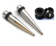 Pair of Black Titanium Tapers and Screw Tunnels Ear Stretching Kit Gauges Gauging Plugs 0g 2g 4g 6g 8g 10g 12g