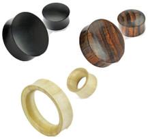 3 Pair Organic Wood Ear Plugs Tunnels Gauges 6g 4g 2g 0g 00g 1/2 3/4 30mm 32.5mm