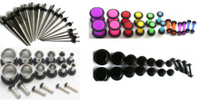 72pc Ear Stretching Kit Gauges Steel Tapers Tunnels Black Neon Plugs 00g 0g 2g 4g 6g 8g 10g 12g 14g Plus Instructions