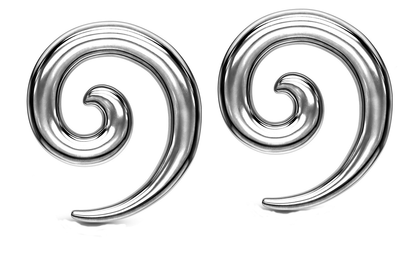 Zaya Body Jewelry Pair Black Anodized Stainless Steel Ear Spirals Tapers Gauges 00g 0g 2g 4g