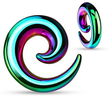 Pair Rainbow Anodized Steel Spirals plugs 0g-8g - CHOOSE YOUR SIZE