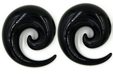 Pair Black Acrylic Spirals tapers plugs 10mm-24mm - CHOOSE YOUR SIZE