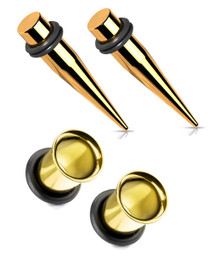 Pair 1g 7mm Gold Tapers and Single Flare Ear Stretching Kit Tunnels Gauges